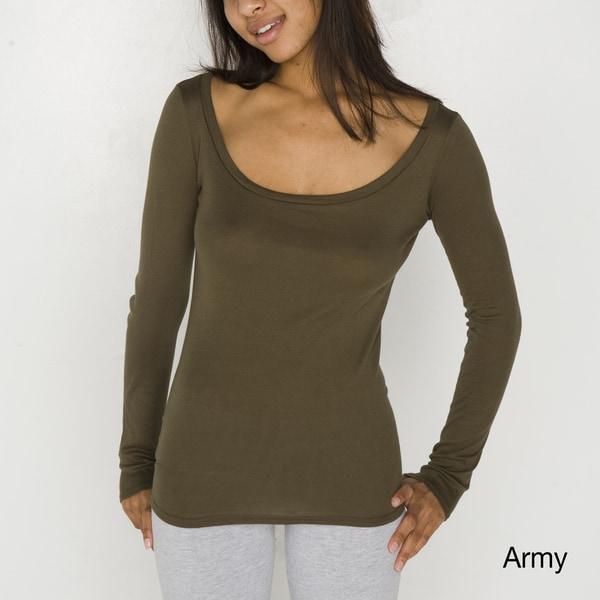 American Apparel Women's Sheer Rib Long Sleeve Scoop Neck Top