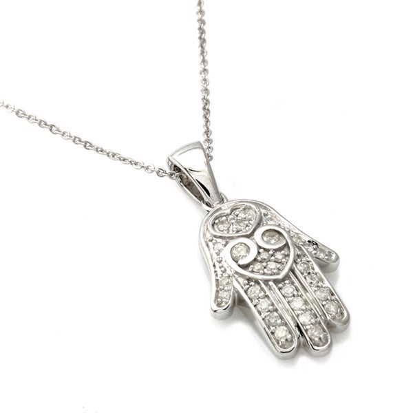 Beverly Hills Charm Sterling Silver 1/4ct TDW Diamond 'Hamsa' Necklace