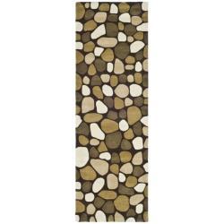 Safavieh Handmade Pebbles Dark Brown/ Multi N. Z. Wool Rug (2'6 x 10')
