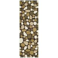 """Safavieh Handmade Pebbles Dark Brown/ Multi N. Z. Wool Rug - 2'6"""" x 10'"""
