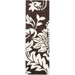 "Safavieh Handmade Soho Brown/ Ivory New Zealand Wool Rug - 2'6"" x 12' - Thumbnail 0"