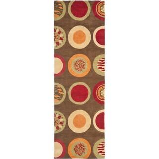 Safavieh Handmade Soho Brown/ Multi New Zealand Wool Rug (2'6 x 14')
