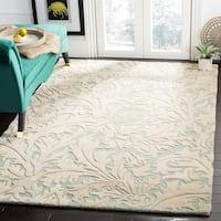 Safavieh Handmade Bliss Beige/ Blue New Zealand Wool Rug - 5' x 8'