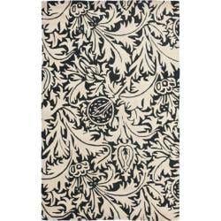 Safavieh Handmade Bliss Beige/ Black New Zealand Wool Rug (5'x 8')