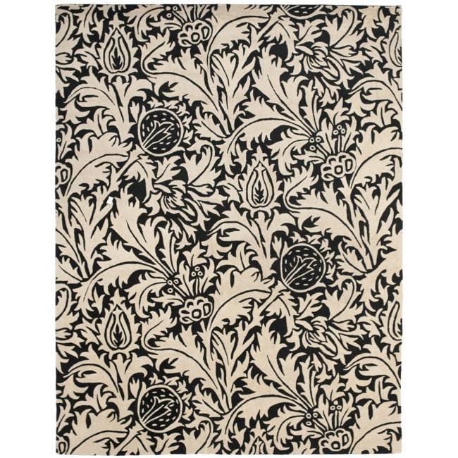 Safavieh Handmade Bliss Beige/ Black New Zealand Wool Rug (7'6 x 9'6)