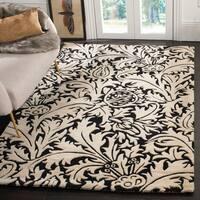Safavieh Handmade Bliss Beige/ Black New Zealand Wool Rug - 7'6 x 9'6