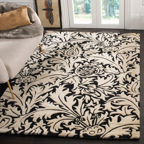 Safavieh Handmade Bliss Beige/ Black New Zealand Wool Rug - 7'6 x 9'6