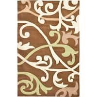 Safavieh Handmade Passage Floral-Pattern Brown New Zealand Wool Rug - 5' x 8'
