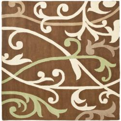 Safavieh Handmade Passage Brown New Zealand Wool Rug (6' Square)