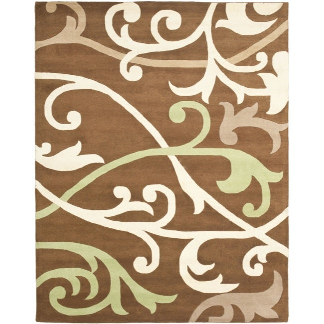 Safavieh Handmade Passage Brown New Zealand Wool Rug - 7'6 x 9'6