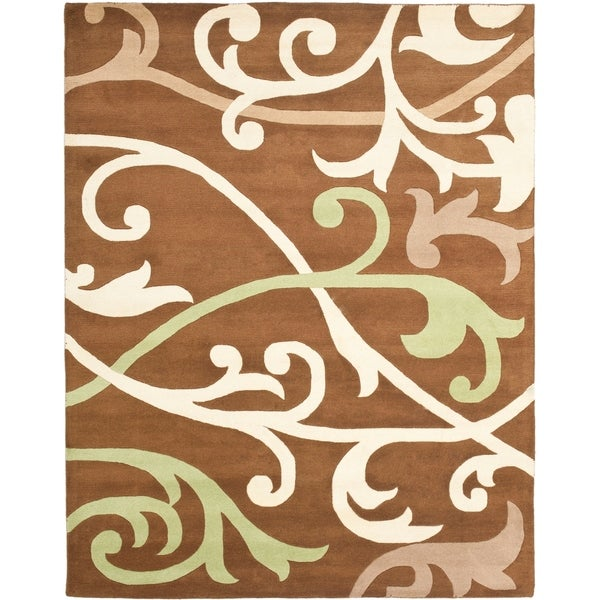 """Safavieh Handmade Passage Brown New Zealand Wool Rug - 7'6"""" x 9'6"""""""