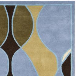 Safavieh Handmade Soho Modern Abstract Blue Wool Rug (3' 6 x 5' 6) - Thumbnail 1