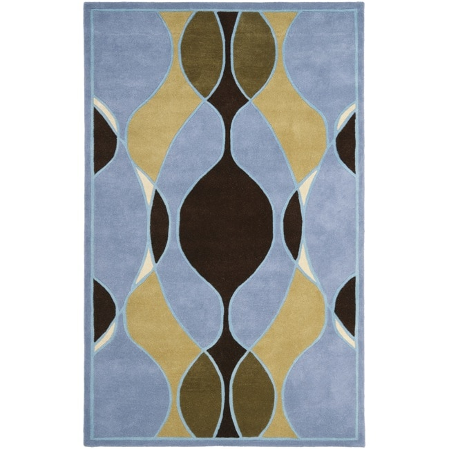 Safavieh Handmade Soho Modern Abstract Blue Wool Rug (7' 6 x 9' 6)