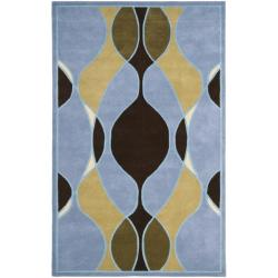 Safavieh Handmade Soho Modern Abstract Blue Wool Rug - 7'6 x 9'6 - Thumbnail 0
