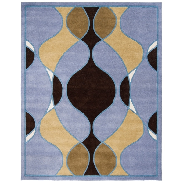 "Safavieh Handmade Soho Modern Abstract Blue Wool Rug - 7'6"" x 9'6"""