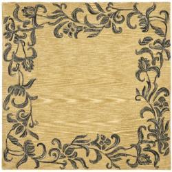 Safavieh Handmade New Zealand Wool Floral Border Gold Rug (6' Square)