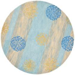 Safavieh Handmade Eternity Blue New Zealand Wool Rug (6' Round)