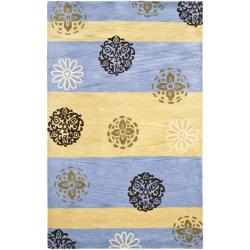 Safavieh Handmade Eternity Blue/ Gold New Zealand Wool Rug (3'6 x 5'6')