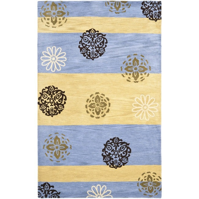 Safavieh Handmade Eternity Blue/ Gold New Zealand Wool Rug (5'x 8') - Thumbnail 0