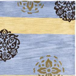 Safavieh Handmade Eternity Blue/ Gold New Zealand Wool Rug (5'x 8') - Thumbnail 1