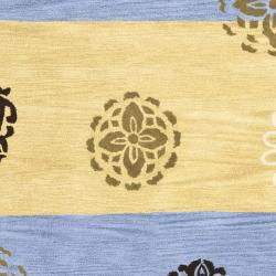 Safavieh Handmade Eternity Blue/ Gold New Zealand Wool Rug (5'x 8') - Thumbnail 2