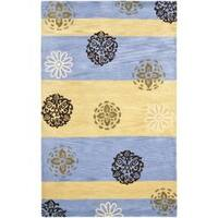 Safavieh Handmade Eternity Blue/ Gold New Zealand Wool Rug - 5' x 8'