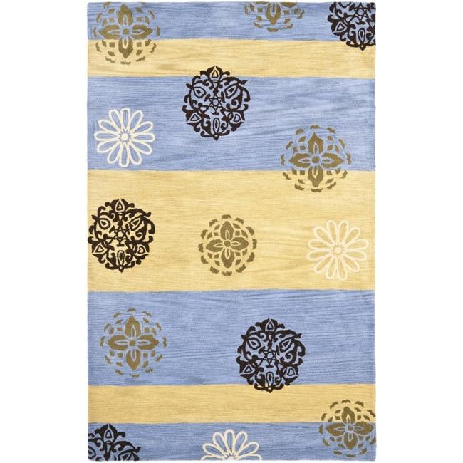 Safavieh Handmade Eternity Blue/ Gold New Zealand Wool Rug (7'6 x 9'6)
