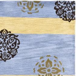 Safavieh Handmade Eternity Blue/ Gold New Zealand Wool Rug (7'6 x 9'6) - Thumbnail 1