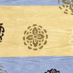 Safavieh Handmade Eternity Blue/ Gold New Zealand Wool Rug (7'6 x 9'6) - Thumbnail 2
