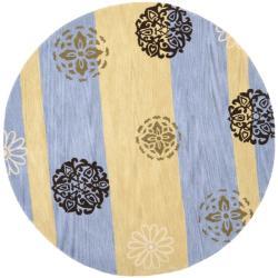 Safavieh Handmade Eternity Blue/ Gold New Zealand Wool Rug (6' Round)