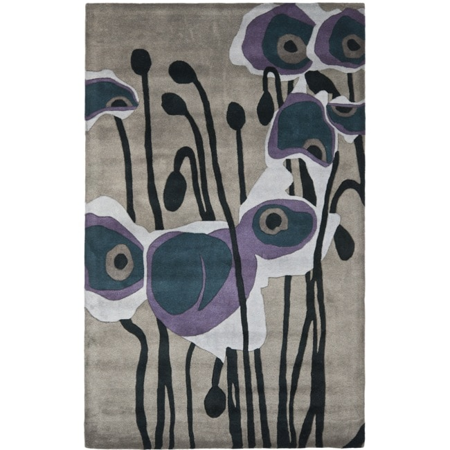Safavieh Handmade Soho Modern Abstract Grey/ Blue Wool Rug (3' 6 x 5' 6)