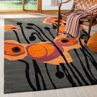 "Safavieh Handmade Elegance Grey/ Orange New Zealand Wool Rug - 3'6"" x 5'6"""