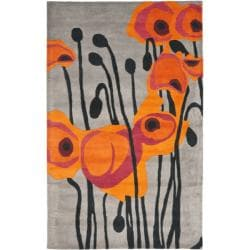 Safavieh Handmade Elegance Grey/ Orange New Zealand Wool Rug (5'x 8')