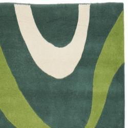 Safavieh Handmade Soho Modern Abstract Teal Wool Runner Rug (2' 6 x 8') - Thumbnail 1