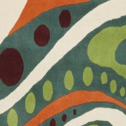 Safavieh Handmade Soho Modern Abstract Teal Wool Runner Rug (2' 6 x 8') - Thumbnail 2
