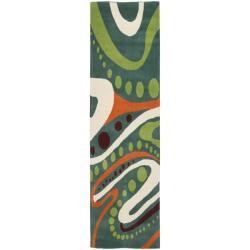 Safavieh Handmade Soho Modern Abstract Teal Wool Runner Rug (2' 6 x 8')