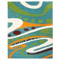 "Safavieh Handmade Journey Teal New Zealand Wool Rug - 7'6"" x 9'6"""