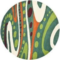 Safavieh Handmade Soho Modern Abstract Teal Wool Rug - 6' x 6' Round