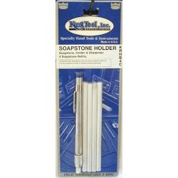 King Tool 1/4-inch Round Natural Soapstone and Holder Set