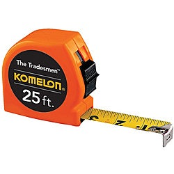 Komelon USA 1 inch x 25 foot Orange Tradesman Measuring Tape (12 per display)
