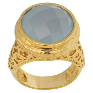 14k Vermeil on Sterling Silver 15 mm Blue Chalcedony Hammered Dome Ring