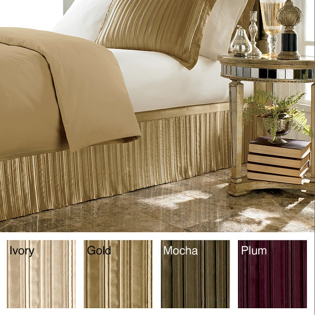 Luxury Pleated Satin 15-inch Drop Bedskirt (Cal King - Pl...