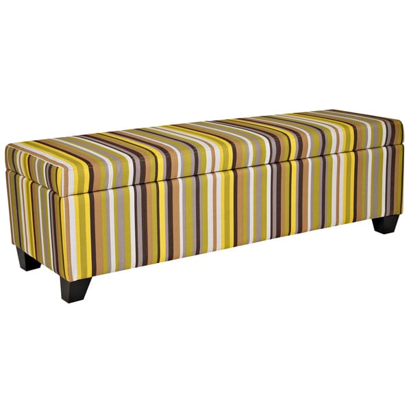 Handy Living Kent Sunflower Yellow Stripe Wall Hugger Trunk Storage Ottoman