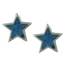 Journee Collection Sterling Silver Children's Created Turqoise Inlay Star Earrings