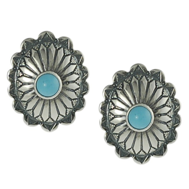 Journee Collection Sterling Silver Children's Created Turquoise Ornate Stud Earrings