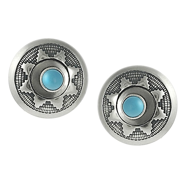 Journee Collection Sterling Silver Children's Created Turquoise Southwestern Earrings