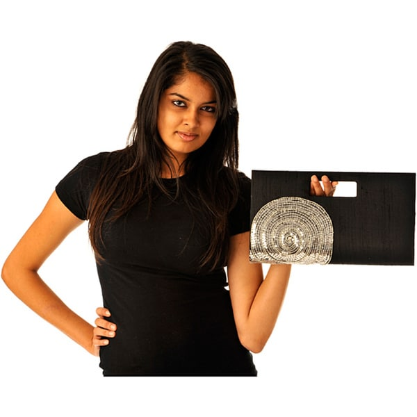 Black Silk Silver Circle Embroidered Clutch (India)