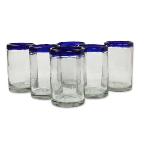 Handmade Blue Rim Glass Classic Drinking Set of 6 Glasses (Mexico)