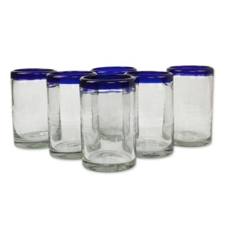 Set of 6 Blue Rim Handmade Glass Classic Drinking Glasses (Mexico)