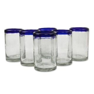Set of 6 Blue Rim Handmade Glass Classic Drinking Glasses (Mexico)